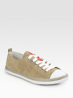 Prada Suede Lace-Up Sneakers