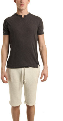 V::room Slit Neck Short Sleeve Tee in Charcoal Brown
