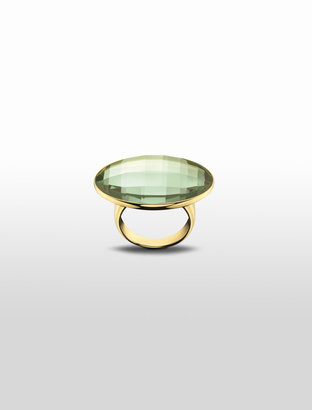 Calvin Klein Continuity Round Green Glass Gold Finished Ring