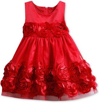 Bonnie Baby Dress, Baby Girl Red Flower Applique Dress