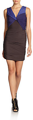 Halston Colorblock Ruched Dress