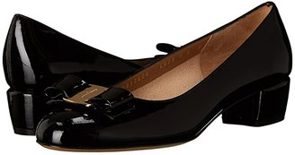 Salvatore Ferragamo Vara Bow Pump (Oxford Blue Patent) Women's 1-2 inch heel Shoes