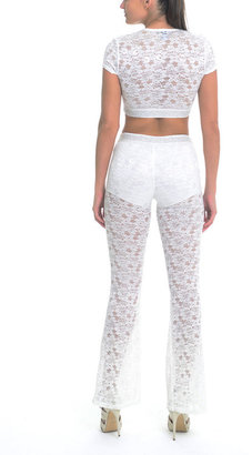 Sentimental NY - Two Piece Cropped Lace Set With Flared Pants With Embellished Elastic Band Detail 2396654339