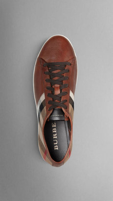 Burberry Check Cotton Leather Trainers