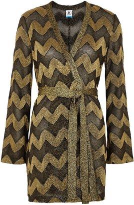M Missoni Zigzag Belted Metallic-knit Cardigan