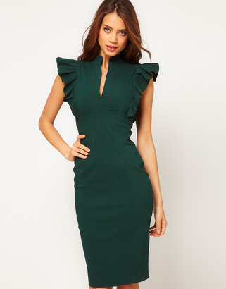 Hybrid Dress with Deep V Neck and Frill Sleeves