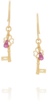 Alex Monroe Baby Key gold-plated tourmaline earrings