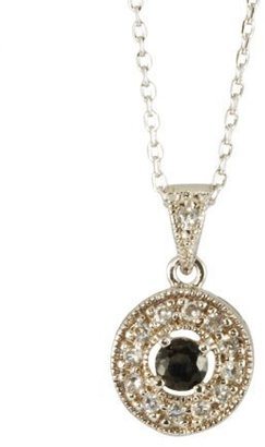 Sterling Silver Black Cubic Zirconia Round Pendant -16""