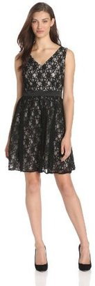 Adrianna Papell Women's Lace V-Neck Long Dress