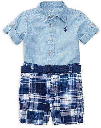 Ralph Lauren Childrenswear Boys' Chambray Shirt, Patchwork Shorts & Belt Set - Baby