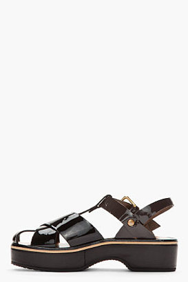 Marni EDITION Black and brown patent leather Platform Clogs