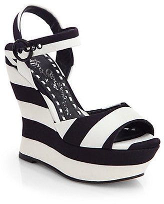 Alice + Olivia Jana Striped Canvas Wedge Sandals