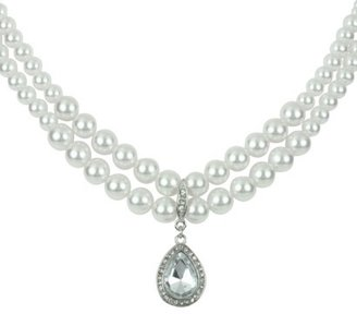 Pearl Necklace with Crystal Teardrop - Clear/White
