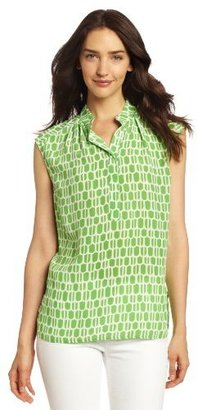 Plenty by Tracy Reese Women's Macaw Trellis Sleeveless Peasant Blouse