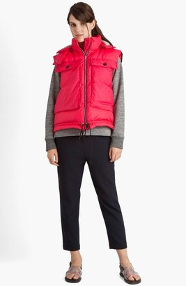 Marni Technical Down Vest with Genuine Shearling Hood