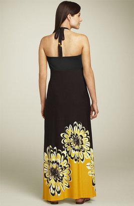 Olian Maternity Floral Halter Maxi Dress