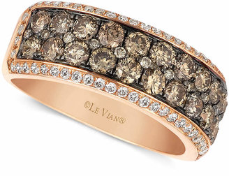 LeVian Le Vian Chocolate and White Diamond 2-row Band (1-1/2 ct. t.w.) in 14k Rose Gold