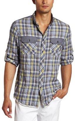 Calvin Klein Jeans Men's Exodus Plaid Military Long Sleeve Woven Shirt
