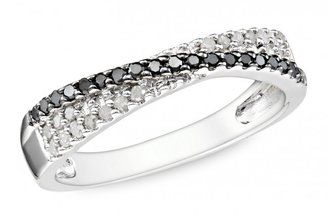 Ice 1/4 CT Black and White Diamond Silver Ring