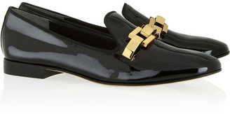 Tory Burch Isaac embellished patent-leather slippers