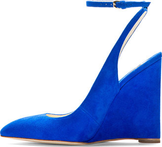 Brian Atwood Blue Suede Slingback Wedges