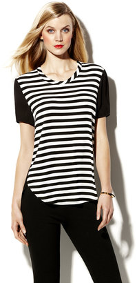 Vince Camuto Woven Back Stripe Tee