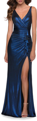 La Femme Metallic Jersey Ruched Gown with Ruffle Trim