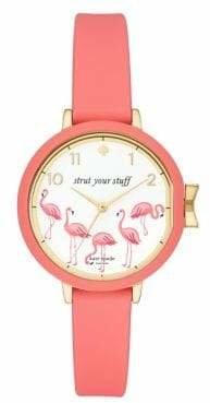 Kate Spade Park Row Flamingo Lemonade Pink Leather Strap Watch