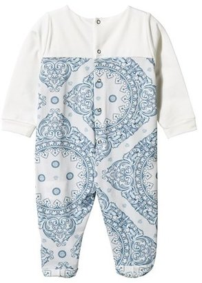 Young Versace White and Blue Embroidered Majolica Babygrow in Gift Box