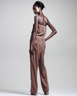 Brunello Cucinelli Stretch-Silk Strapless Jumpsuit
