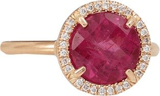 Irene Neuwirth JEWELRY Pink Tourmaline Ring With Diamond Pave