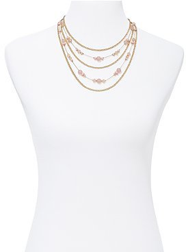 New York & Co. Pink Bead & Goldtone Multi-Strand Necklace