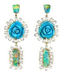 Irene Neuwirth Boulder Opal and Turquoise Flower Drop Earrings with Diamonds - Yellow Gold