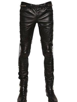 Saint Laurent Nappa Leather Biker Trousers