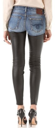 R 13 Skinny Leather Chap Jeans