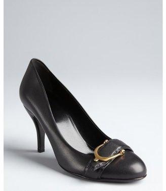 Gucci black leather goldtone horsebit buckle pumps