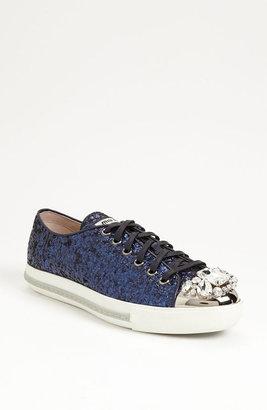 Miu Miu Glitter Crystal Toe Sneaker