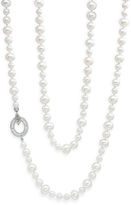 Ivanka Trump Long Freshwater Pearl & Diamond Clasp Necklace
