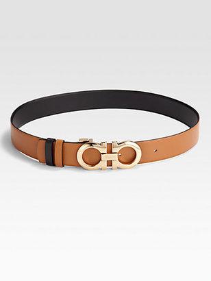 Salvatore Ferragamo Reversible Leather and Brass Belt