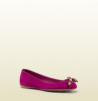Gucci Suede Bamboo Bow Ballet Flat