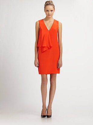 Tibi Drape-Front Silk Dress