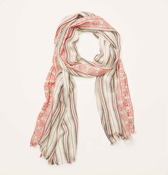 LOFT Embroidered Yarn Dye Stripe Scarf