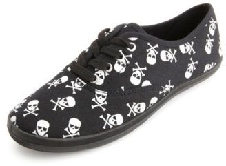 Charlotte Russe Skull Print Canvas Sneakers