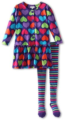 Le Top Girls' Queen Of Hearts Dress Stripe Tights (Newborn/Infant) (Eggplant) - Apparel