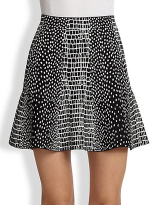 BCBGMAXAZRIA Peyton Mixed-Print Flared Knit Skirt