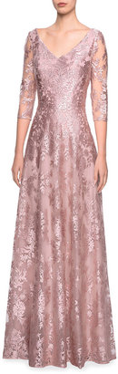 La Femme V-Neck 3/4-Sleeve Metallic Lace A-Line Gown