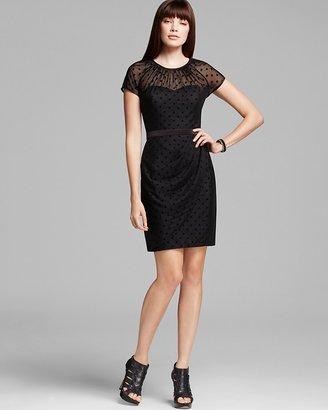 Aqua Polka Dot Illusion Neckline Dress - Short Sleeves