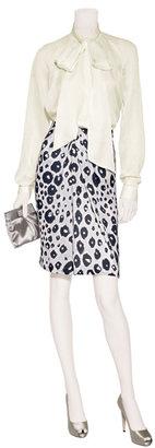 Salvatore Ferragamo Ivory and night animal print silk skirt