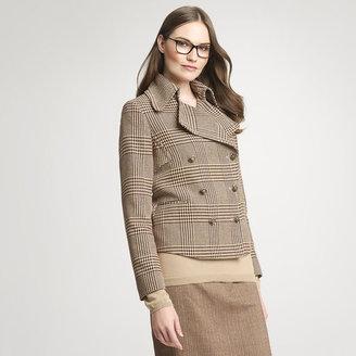 Anne Klein Metallic Plaid Pea Coat