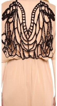Vionnet Short Sleeve Embroidered Back Gown